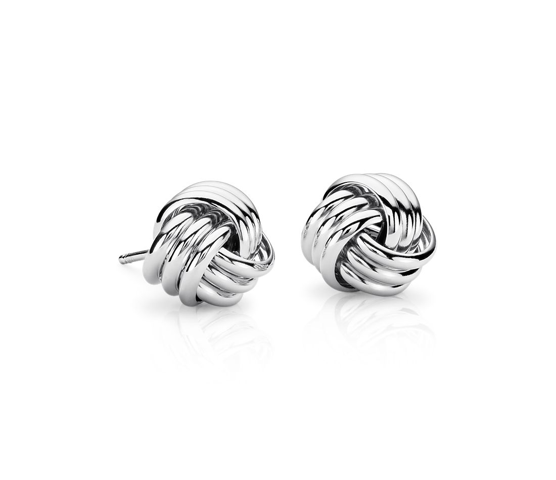 Large Love Knot Earrings in Sterling Silver
