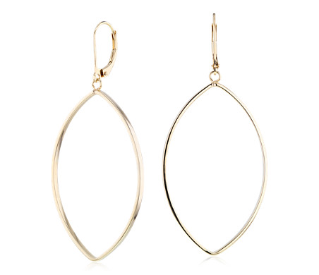 Large Open Marquise Drop Earrings in 14k Yellow Gold
