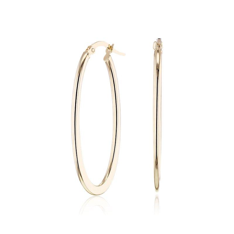 Large Oval Hoop Earrings in 14k Yellow Gold