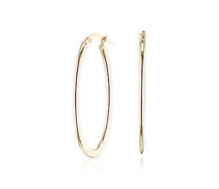 Large Oval Hoop Earrings in 14k Yellow Gold