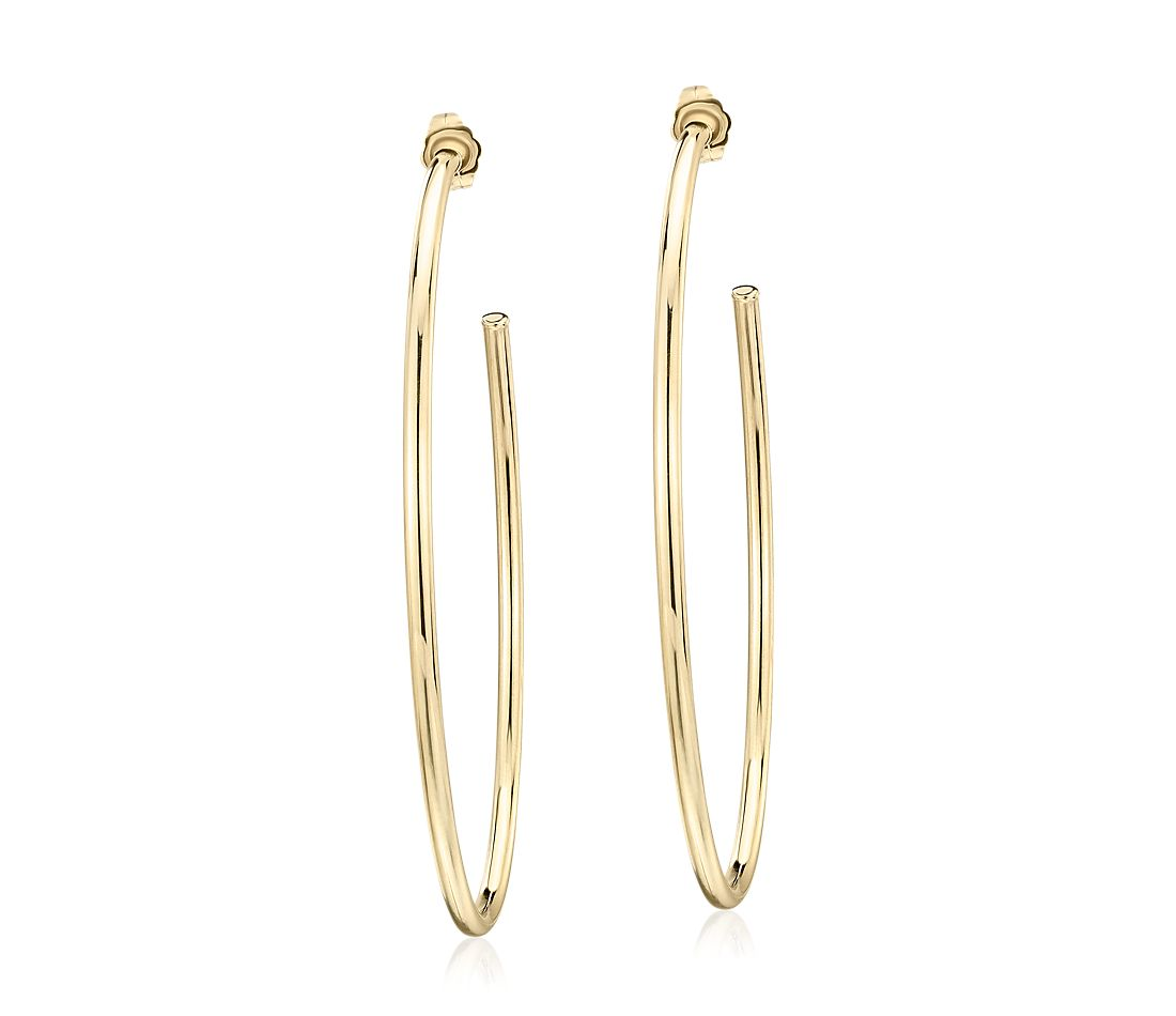 Large Oval Hoop Earrings In 14k Yellow Gold 1 5 8