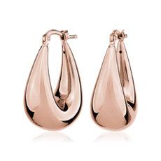新款 14k 義大利玫瑰金大型橢圓形開合式耳環