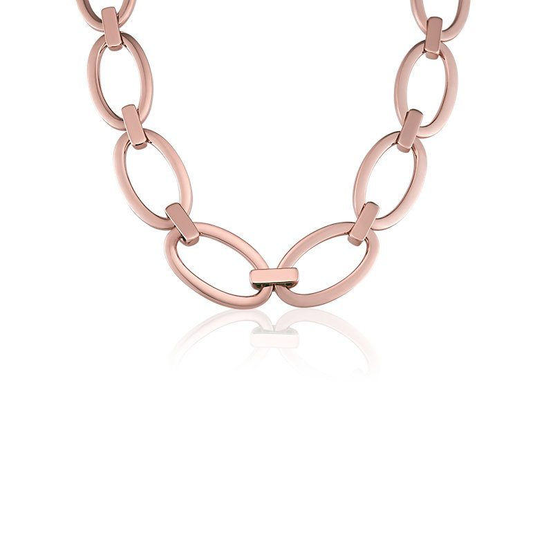 Large Oval Link Necklace in 18k Italian Rose Gold