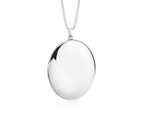 "Engravable Large Polished Locket in Sterling Silver (30"")"