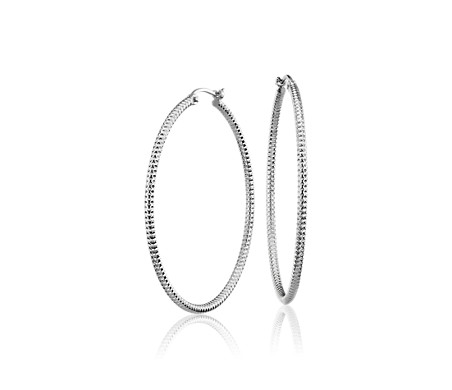 Large Shimmer Cut Hoop Earrings in Platinum (1 3/8')