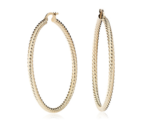 Large Twist Hoop Earrings  in 14k Yellow Gold
