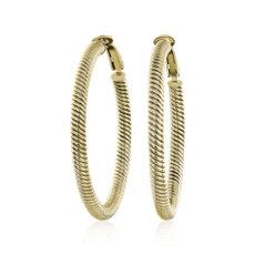 NEW Large Twist Hoop Earrings in 14k Yellow Gold