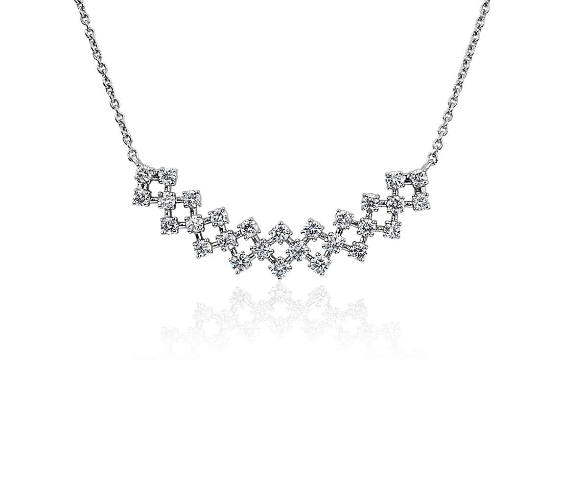 Lattice Diamond Bar Necklace in 14k White Gold (3/4 ct. tw.)