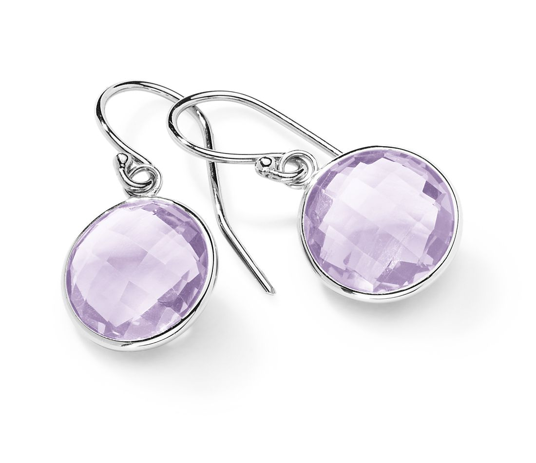 Lavender Amethyst Drop Earrings In 14k White Gold 12mm