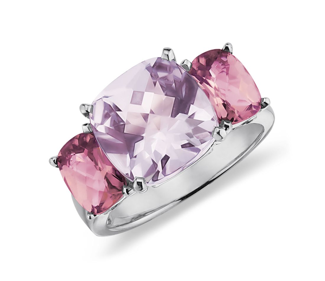 Lavender Amethyst And Pink Tourmaline Ring In 14k White