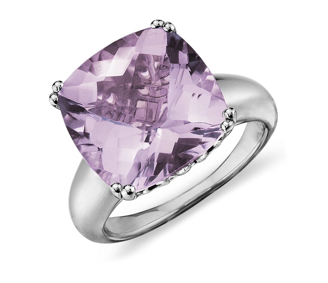 Lavender Amethyst Cocktail Ring in Sterling Silver (13mm)