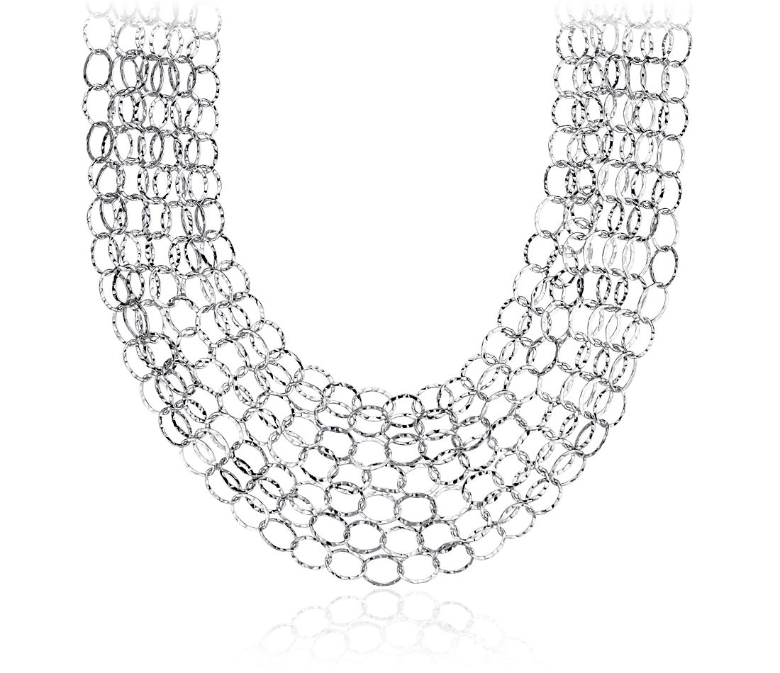 Layered Hammered Circle Necklace in Sterling Silver