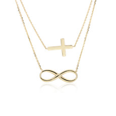 Layered Infinity and Cross Necklace in 14k Yellow Gold