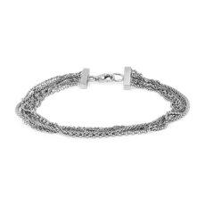 新款 925 纯银氧化绳状链状手链