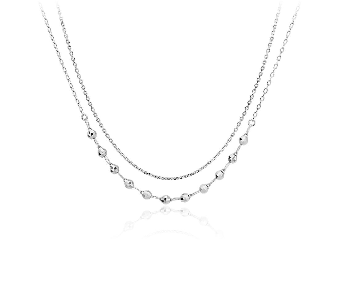 Layered Mini Disco Ball Necklace in Platinum