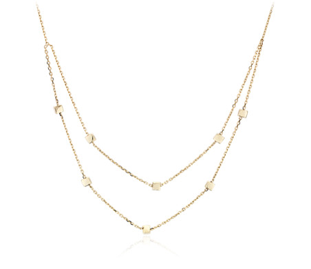 Stationed Petite Squares Layered Necklace in 14k Yellow Gold