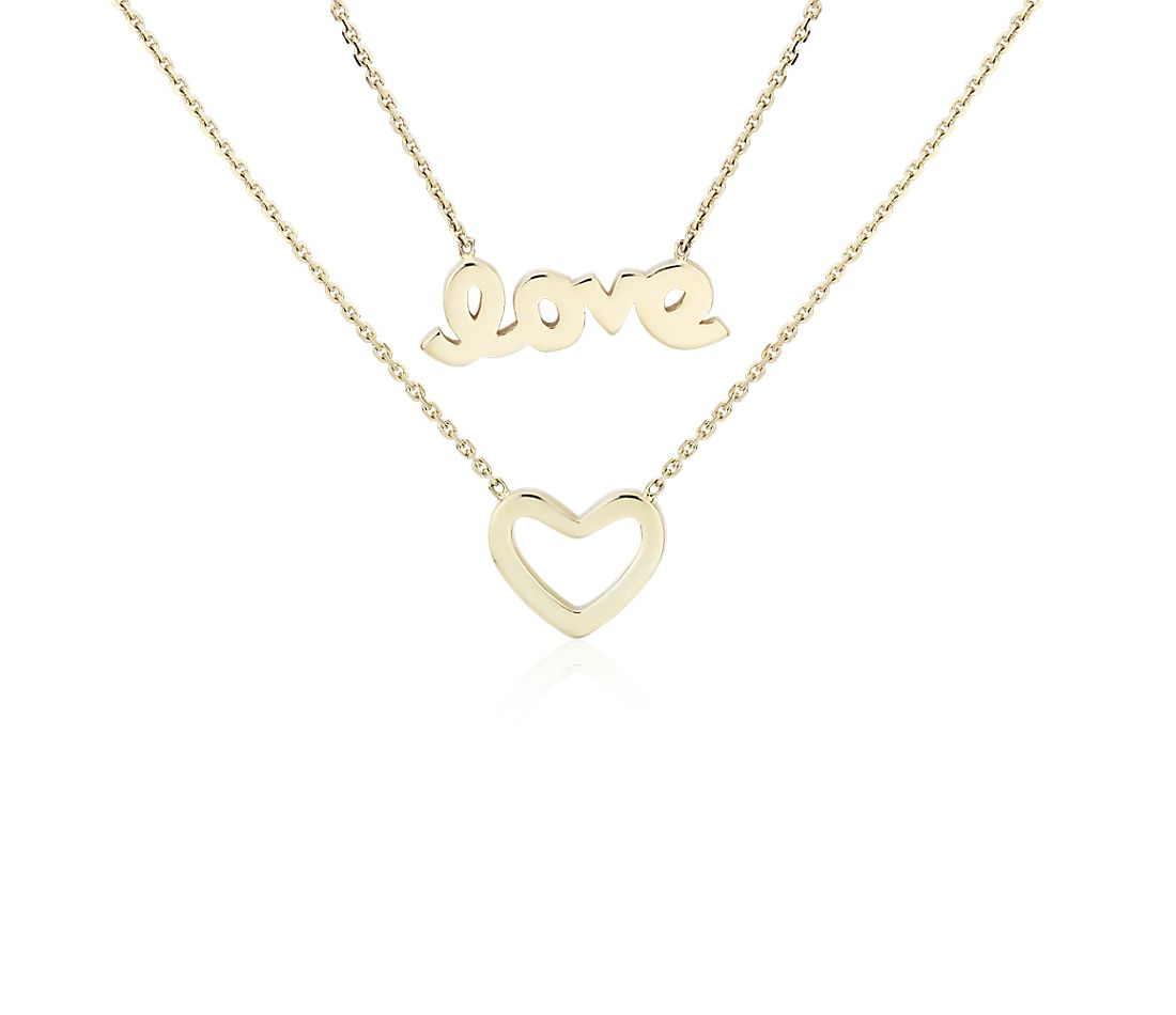 "Layered Heart and ""Love"" Necklace in 14k Yellow Gold"