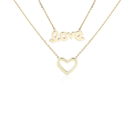 Collier « Love » et cœur superposés en or jaune 14 carats