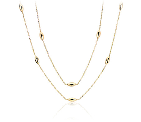 Stationed Marquise Layered Necklace in 14k Italian Yellow Gold