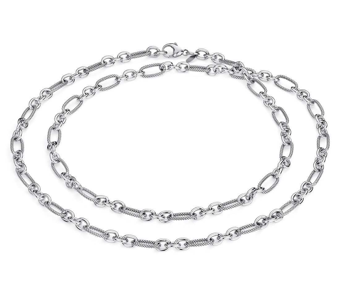 Long Layering Necklace in Sterling Silver - 36""