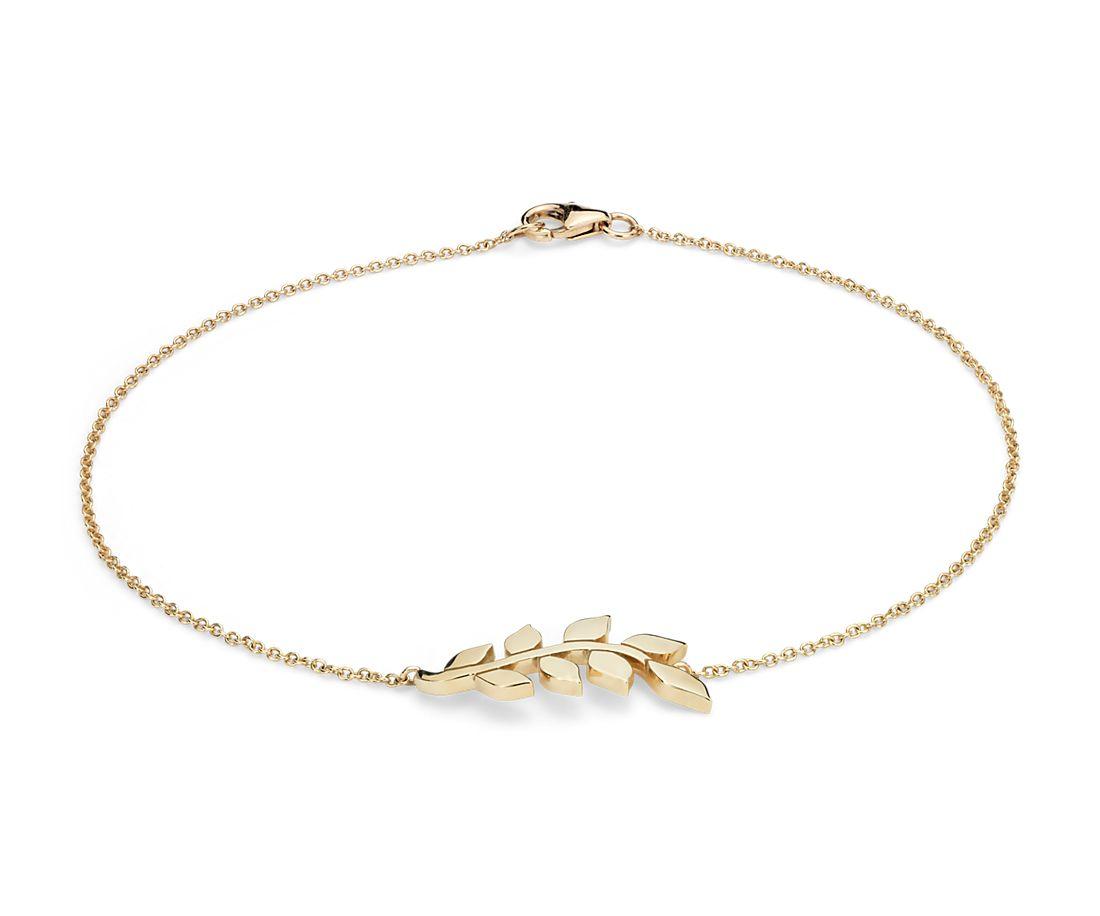 Leaf Bracelet In 14k Yellow Gold