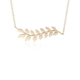 Collar con forma de rama con hojas en oro amarillo de 14k