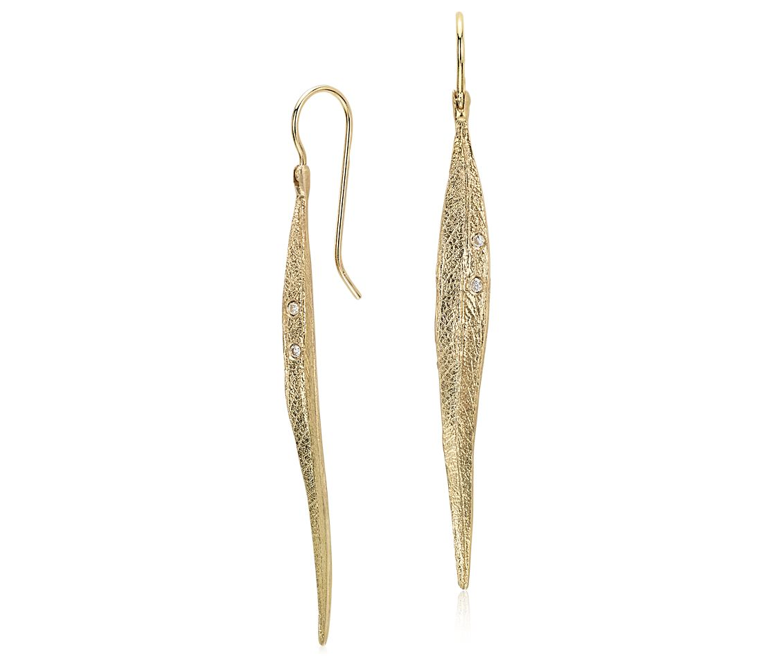 Long Leaf Earrings With Diamond Details In 14k Yellow Gold
