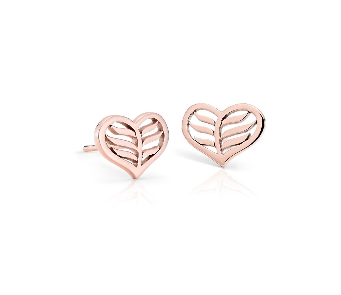 Leaf Heart Stud Earrings in 14k Rose Gold