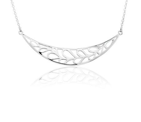 Leaf Smile Necklace in Sterling Silver
