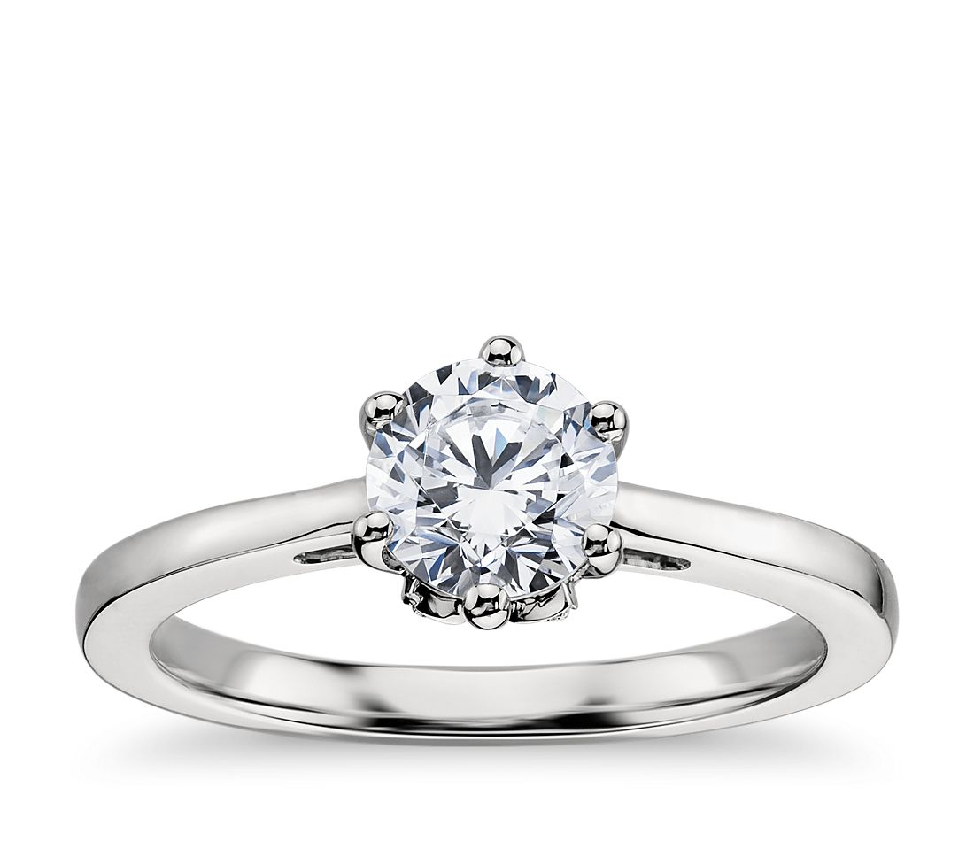 leaf solitaire engagement ring in platinum blue nile. Black Bedroom Furniture Sets. Home Design Ideas
