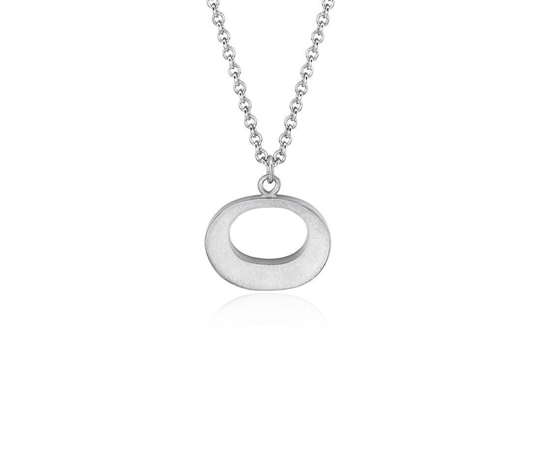 Oval Pendant in Satin Sterling Silver