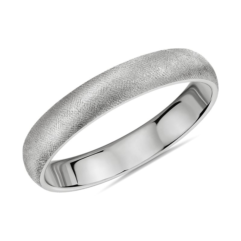 Light Florentine Wedding Band in 14k White Gold (4mm)