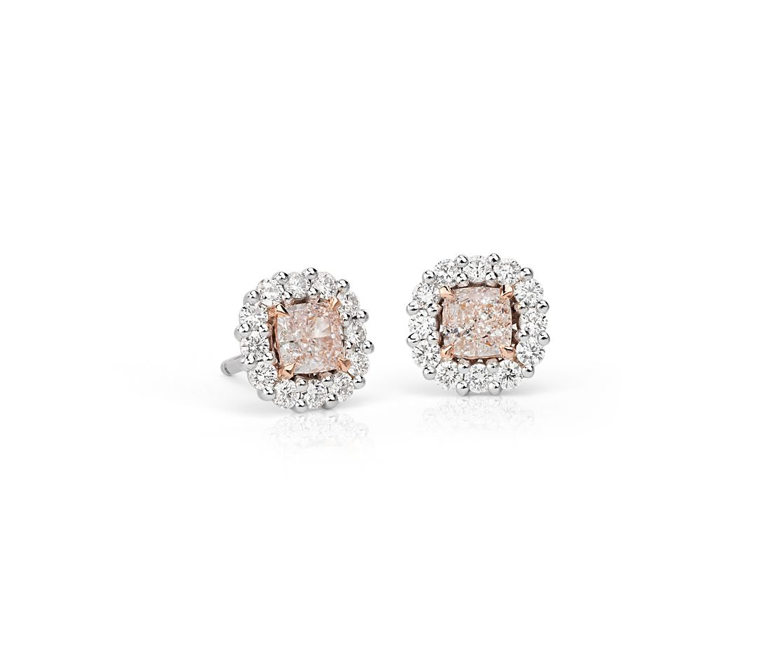 Light Pink Cushion Cut Diamond Halo Earrings In 18k White And Rose Gold 1 57 Ct Tw