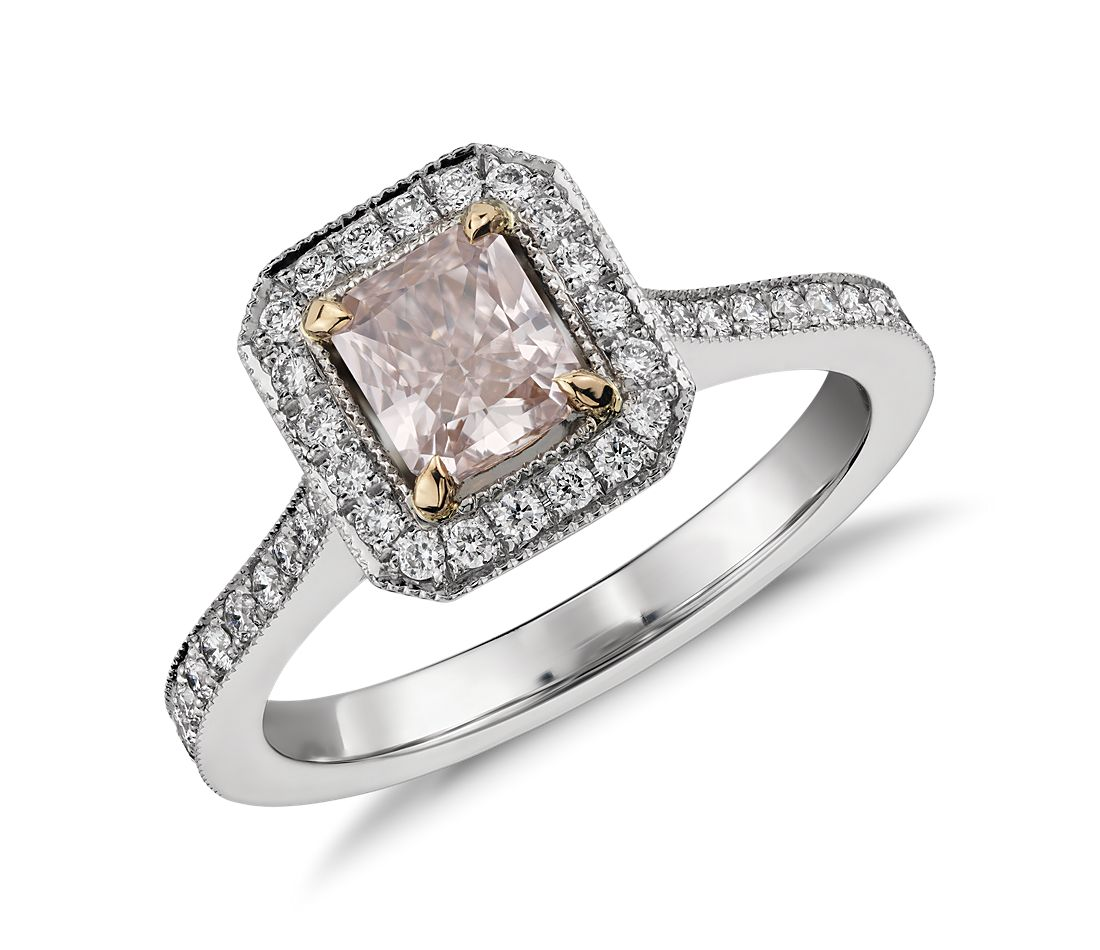 57a4538f914 Radiant Cut Fancy Light Pink Diamond Halo Ring in Platinum (0.62 ct. centre)