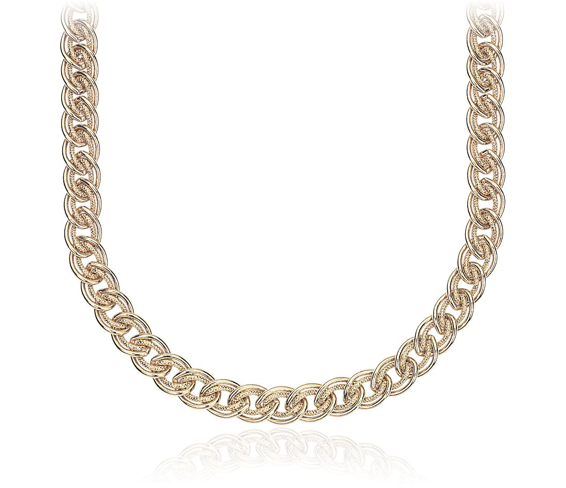 Double Link Choker Necklace in Sterling Silver with Yellow Gold Vermeil