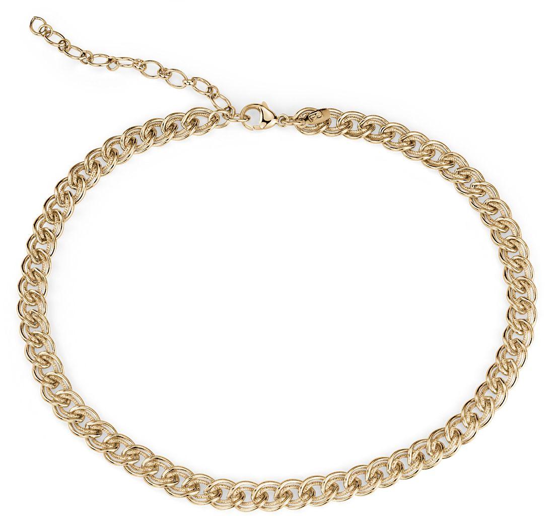 Collar tipo gargantilla con eslabones dobles en plata de ley con plata bañada en oro amarillo de 18k
