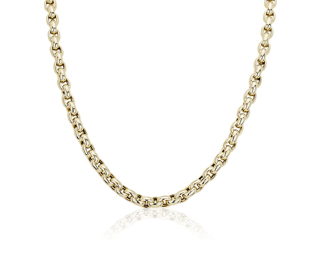 Link Necklace with Toggle Clasp in 14k Italian Yellow Gold