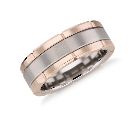 Link Wedding Band White Tungsten/14KRG 8MM
