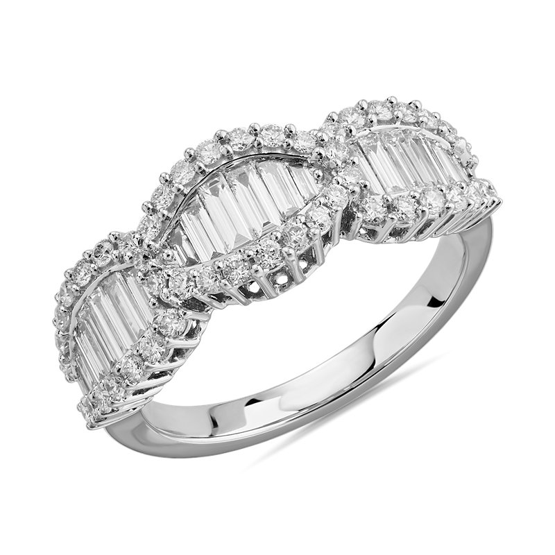 Linked Baguette and Round Diamond Ring in 14k White Gold (1 1/5 ct. tw.)