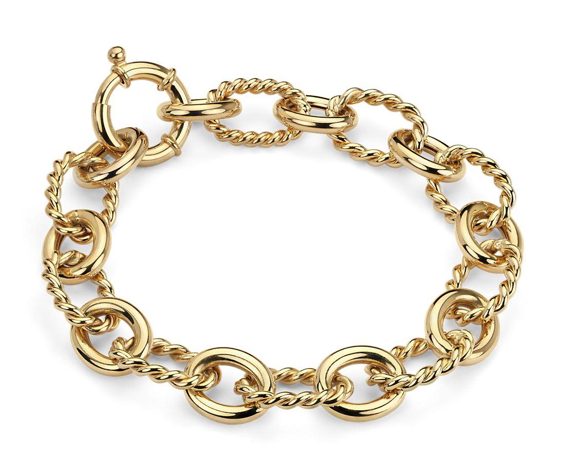 Bracelet à maillons en or jaune italien 14carats