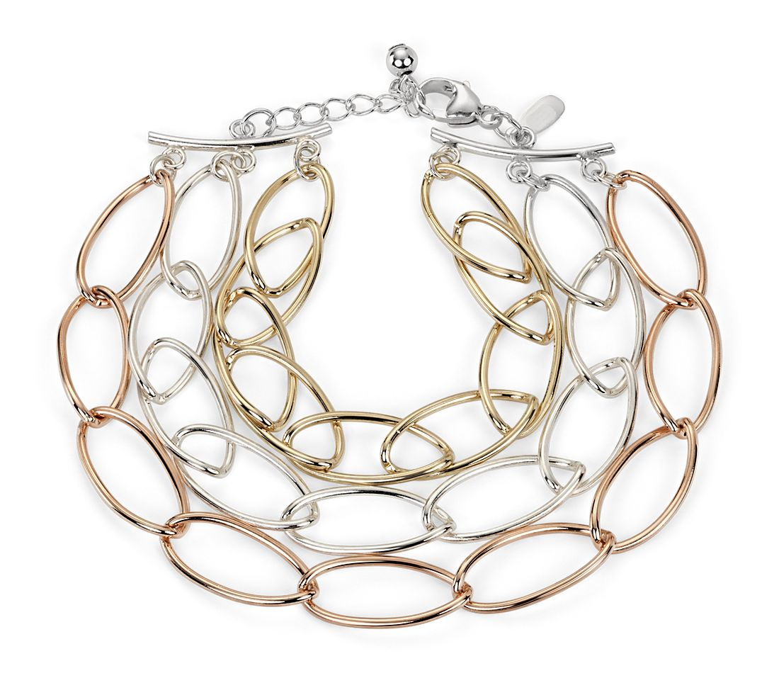 Oval Linked Bracelet in Sterling Silver, Rose and Yellow Gold Vermeil