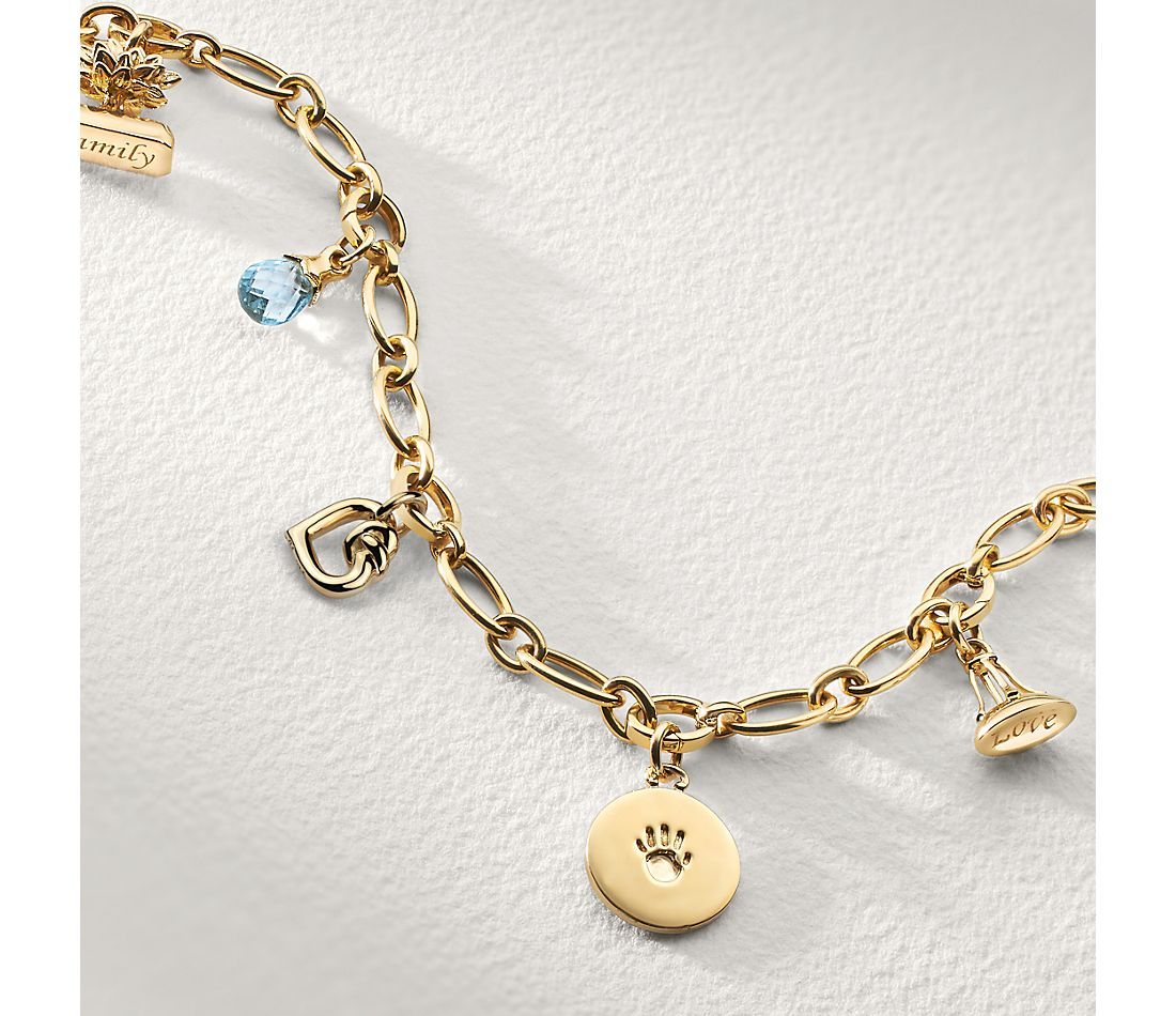 Five Charm Family Heirloom Bracelet In 18k Yellow Gold