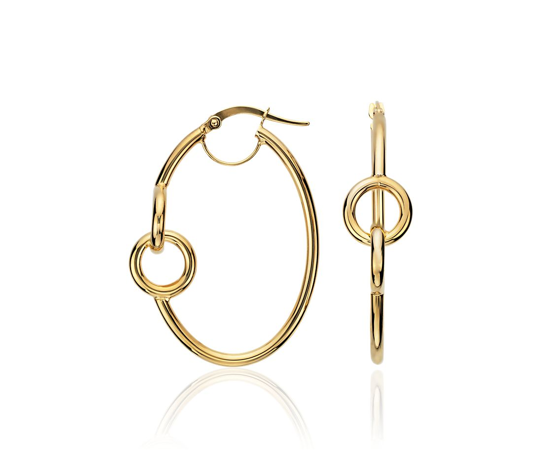 Linked Oval Hoop Earrings in 14k Yellow Gold