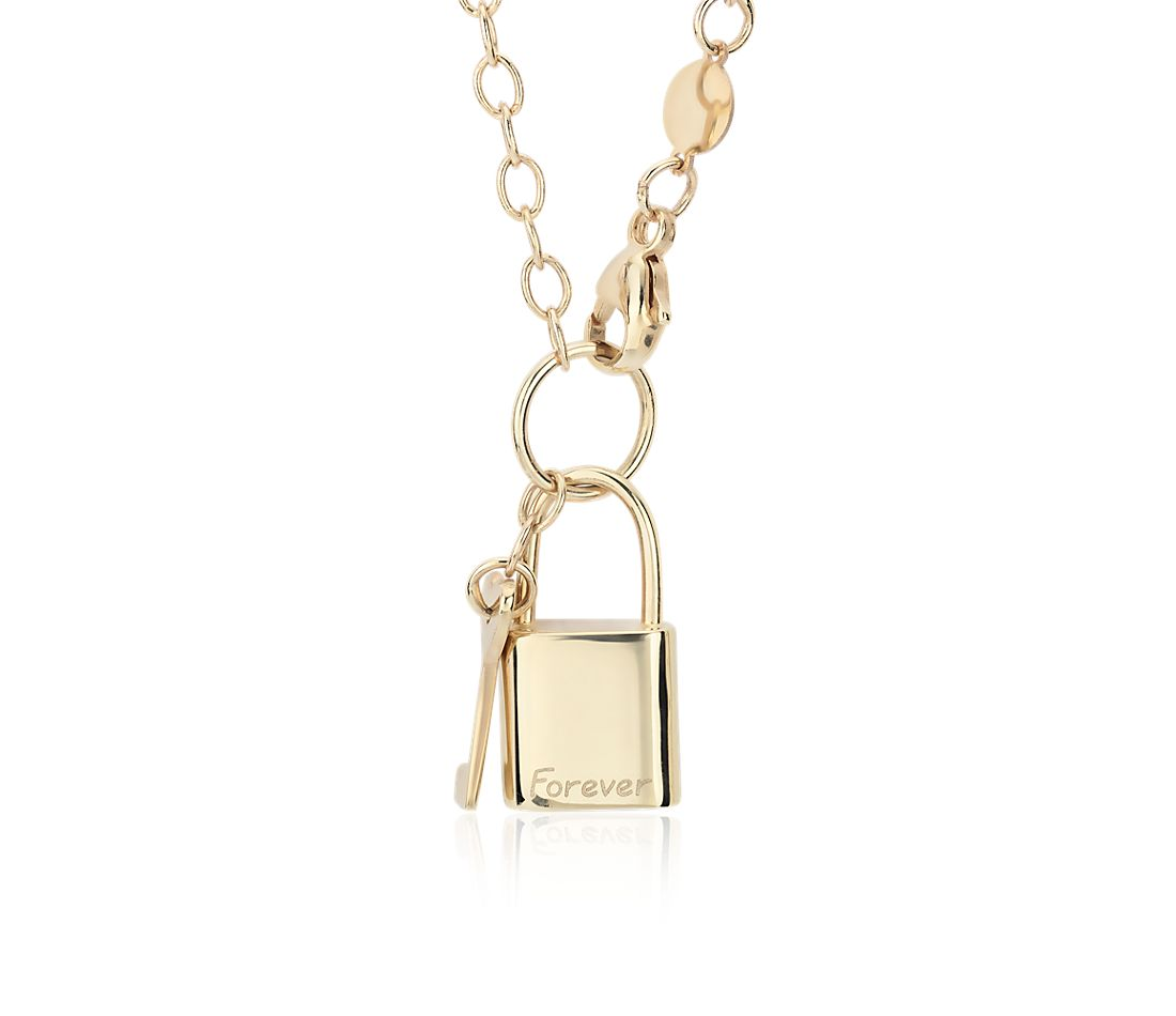 Lock and Key Necklace in 14k Italian Yellow Gold