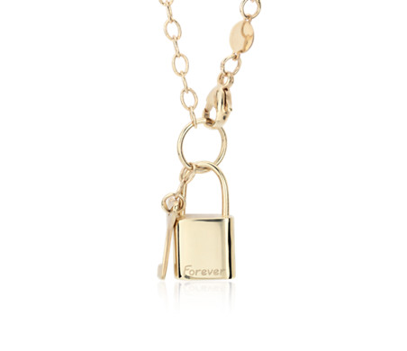 Lock and Key Necklace in 14k Yellow Gold