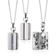Monica Rich Kosann Sapphire Rectangular Locket in Sterling Silver (1.8mm)