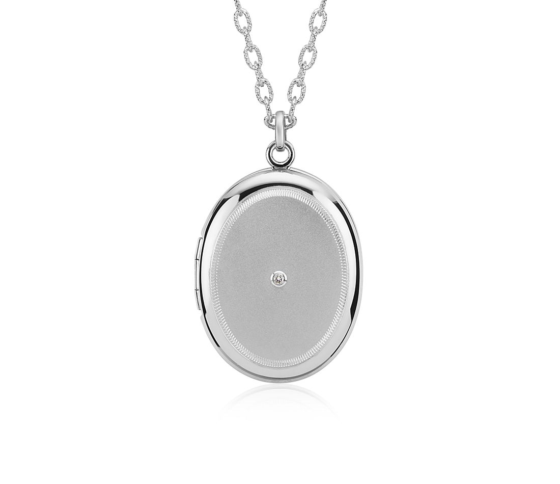 "Engravable Diamond Locket in Sterling Silver (30"")"