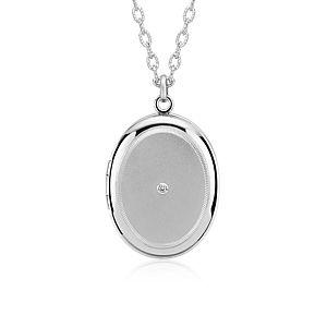 "Engraveable Diamond Locket in Sterling Silver (30"")"