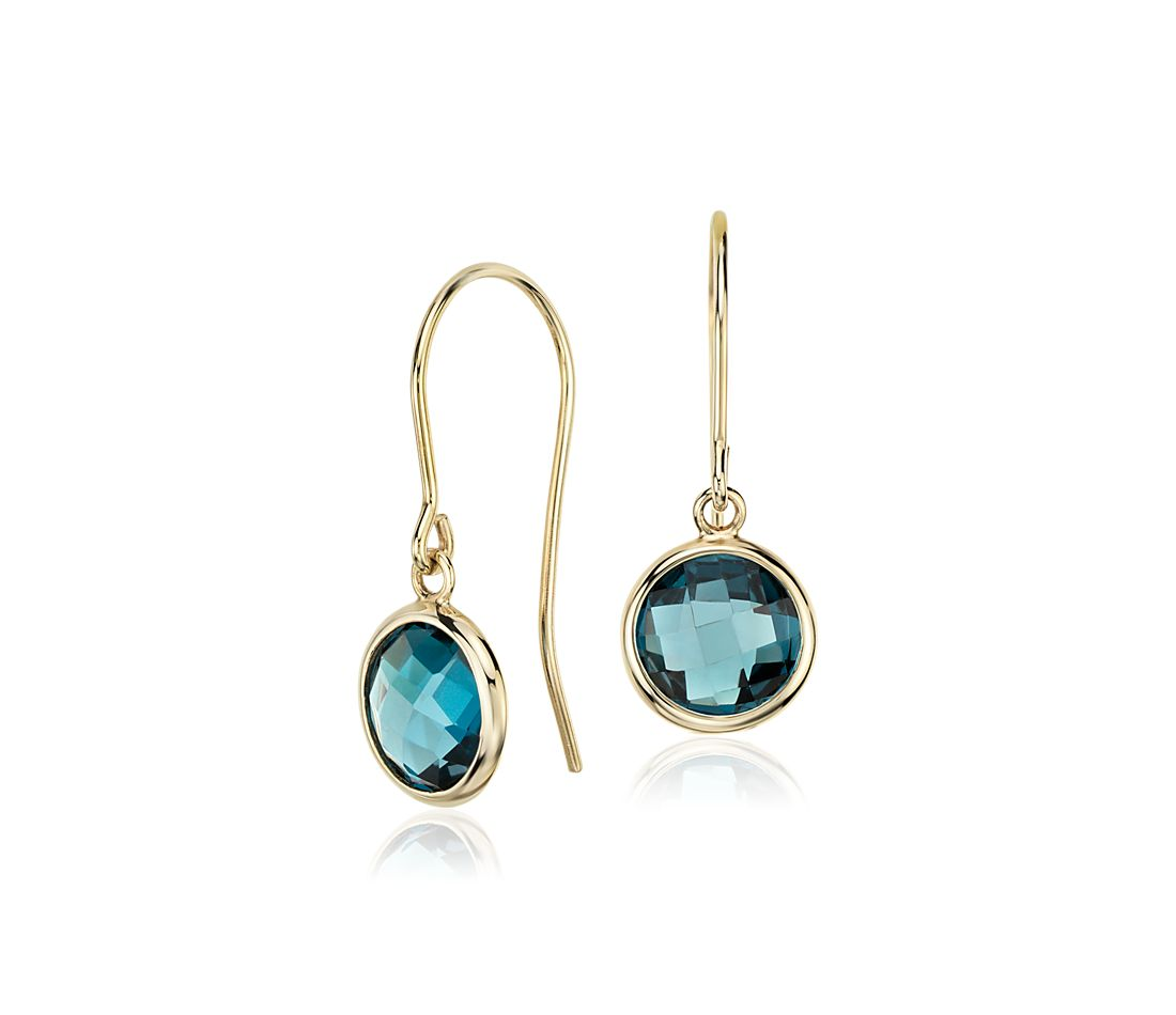London Blue Topaz Earrings In 14k Yellow Gold 7mm