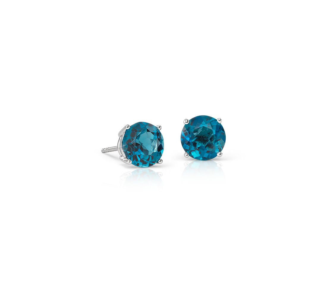 London Blue Topaz Stud Earrings In 14k White Gold 7mm
